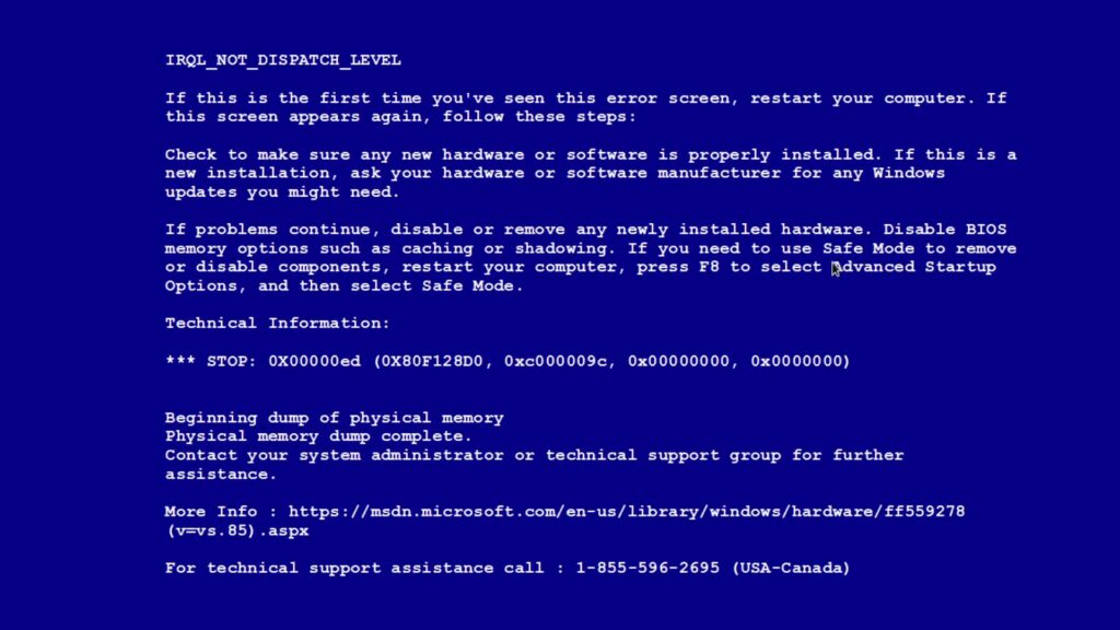 Синий экран смерти на Windows 7